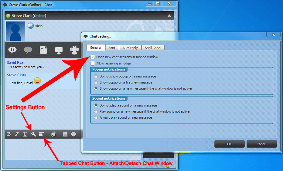 Tabbed Chat Settings in Chat Window
