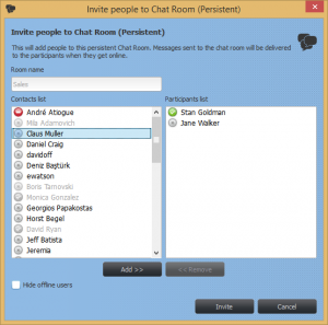 Add people to a Chat Room dialog