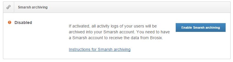 Here is how the option to activate Smarsh archiving looks in Web Control Panel