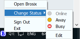 change chat status from taskbar