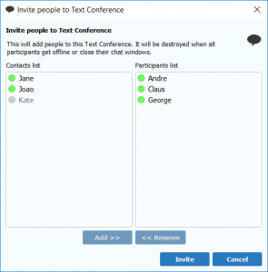 Select users for text conference