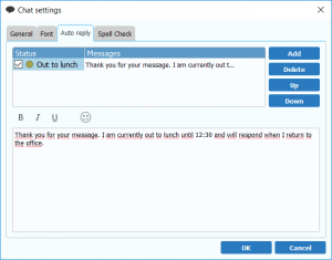 Set up custom auto reply message