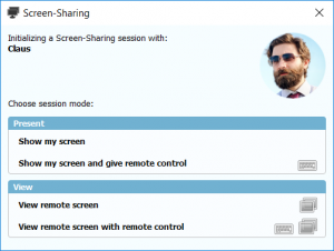Start screen sharing session