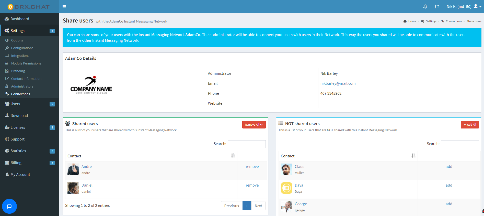 add or remove users