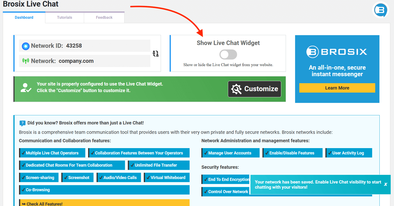 Click show live chat widget